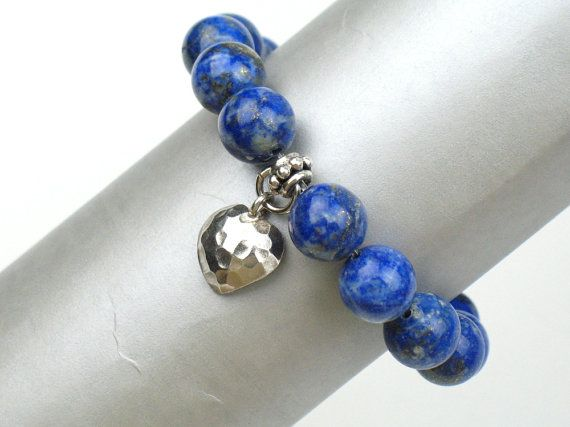 Blue Bead Bracelet with Lapis Lazuli Stones White Jade and