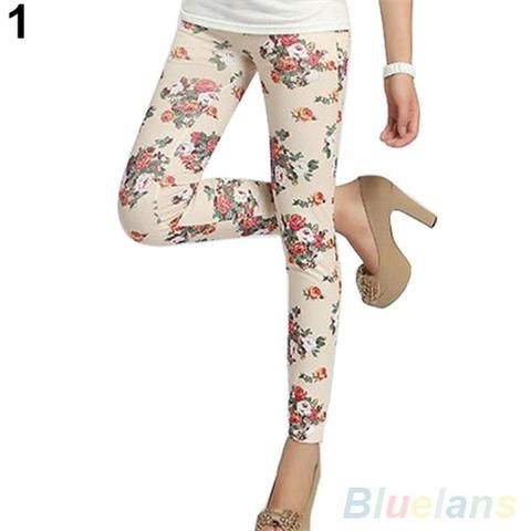 Women's Chic Retro Rose Flower Print Leggings Pants Elasticity Thin New Style