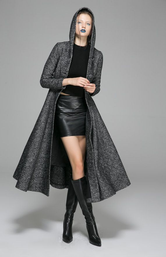 maxi coat,Gray Coat, Dress coat, Womens Coats, Wool Coat, Winter Coat,Hooded Coat, long coat, custom made clothing,mod clothing,gift 1374