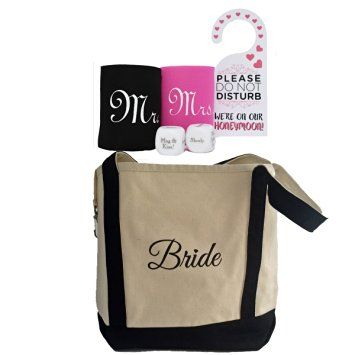 Bridal Shower Gift Set – Canvas Tote and 5 piece Honeymoon Survival Kit - $30.99