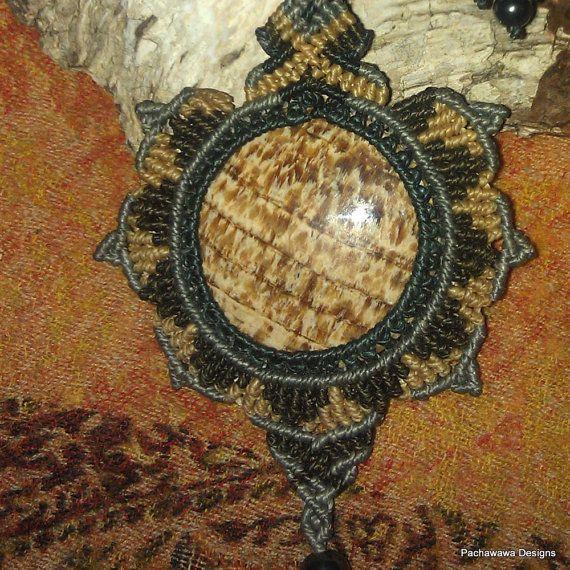Stunning Fossilized Wood Macrame Lotus Necklace by pachawawa, $150.00