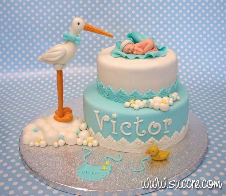 Stork with Baby Cake for Christening - Tarta Bautizo Cigüeña y Bebé - Baby Shower cake  - Bautizo - Bebé