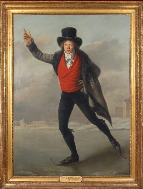 Pierre Maximilien Delafontaine, Le Patineur (portrait du graveur Jean Bertrand Andrieu), 1798, musée de la Monnaie, Paris ice skating in style