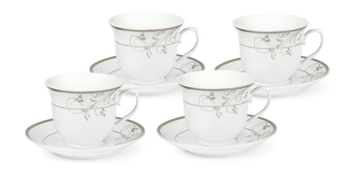 Case of 24 Silver Floral Bulk Wholesale Tea Cups and Saucers