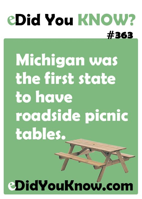 eDidYouKnow.com ► Michigan was the first state to have roadside picnic tables.