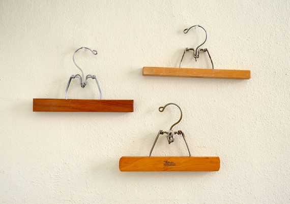 Set of 3 Vintage Wooden Pants Hangers by NellieFellow on Etsy, $18.00