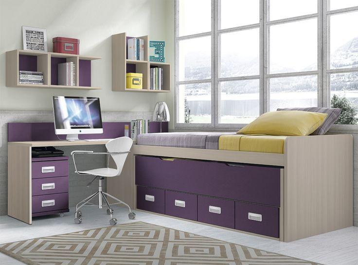 Dormitorio juvenil con compacto de 90x190, cama adicional desplazable 90x180, estanterías y zona estudio. Puede colocarse en posición inversa: mesa a la derecha y camas a la izquierda.