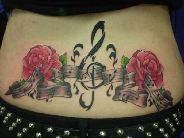 Flower and Note Low Back Tattoo - 60+ Low Back Tattoos for women
