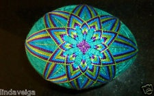 Temari Egg created using Bright Purple, Green and Blue over Turquoise Base