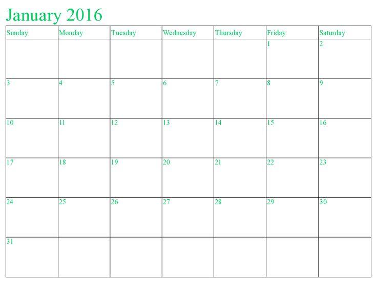 January 2016 Calendar South Africa