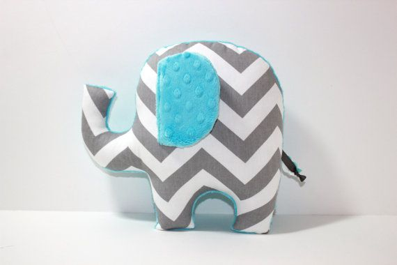 Chevron Elephant nursery pillow toy ELLE aqua blue grey gray plush for modern baby. $28.00, via Etsy.