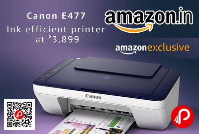Amazon #Exclusive #LightningDeal is offering 29% off on Canon Pixma E477 All in One InkJet Wifi Printer at Rs.3899 Only. Print, scan and copy, ISO Standard A4 Print Speed: Up to 4.0ipm for color prints and 8.0ipm for mono prints, Wi-Fi enabled.   http://www.paisebachaoindia.com/canon-pixma-e477-all-in-one-inkjet-wifi-printer-at-rs-3899-only-amazon/