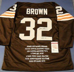 "JIM BROWN AUTOGRAPHED THROWBACK CLEVELAND BROWNS STAT JERSEY JSA . $222.44. JIM BROWN AUTOGRAPHED THROWBACK CLEVELAND BROWNS STAT JERSEY JSA Autographed Jim Brown Authentic Style Custom Cleveland Browns ¾ Sleeve Throwback STAT Jersey. Jim inscribed ""HOF 71"" for the year he was inducted into the NFL Hall of Fame. All Letters and Numbers are stitched with elbow patches on this size XL jersey. This is the best custom throwback jersey I have ever seen and it is now re..."