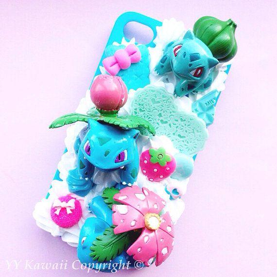 Custom Kawaii Pokemon Bulbasaur Evolution Decoden Phonecase for Iphone 4/4s 5, Samsung Galaxy S5 S3 S4, Htc