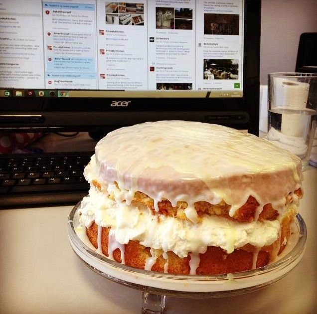 The first day of our Kitch Media bake off and Natalie W made this little (actually it was rather big!) lemon drizzle cake
