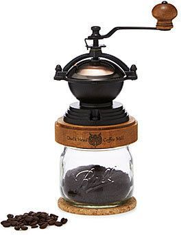 So Cool! Steampunk Coffee Grinder. Crank up your morning with this steampunk-inspired coffee mill featuring an adjustable, ceramic burr grinder and solid maple cap. The included jar holds 20 tablespoons of fresh, finely ground coffee, and the mill screws on to most mason jars for an integrated grind-and-store system. It includes a cork coaster to help keep the grinder stable, or to cradle your cup of steaming java. #affiliate