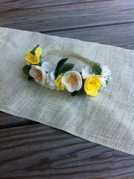 Felt Flower Crown // Yellows // First Birthday by fancyfreefinery, $23.50