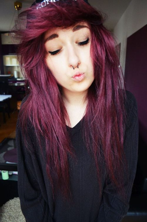 this color is so pretty. It's like a pretty plum red. mmm. c: