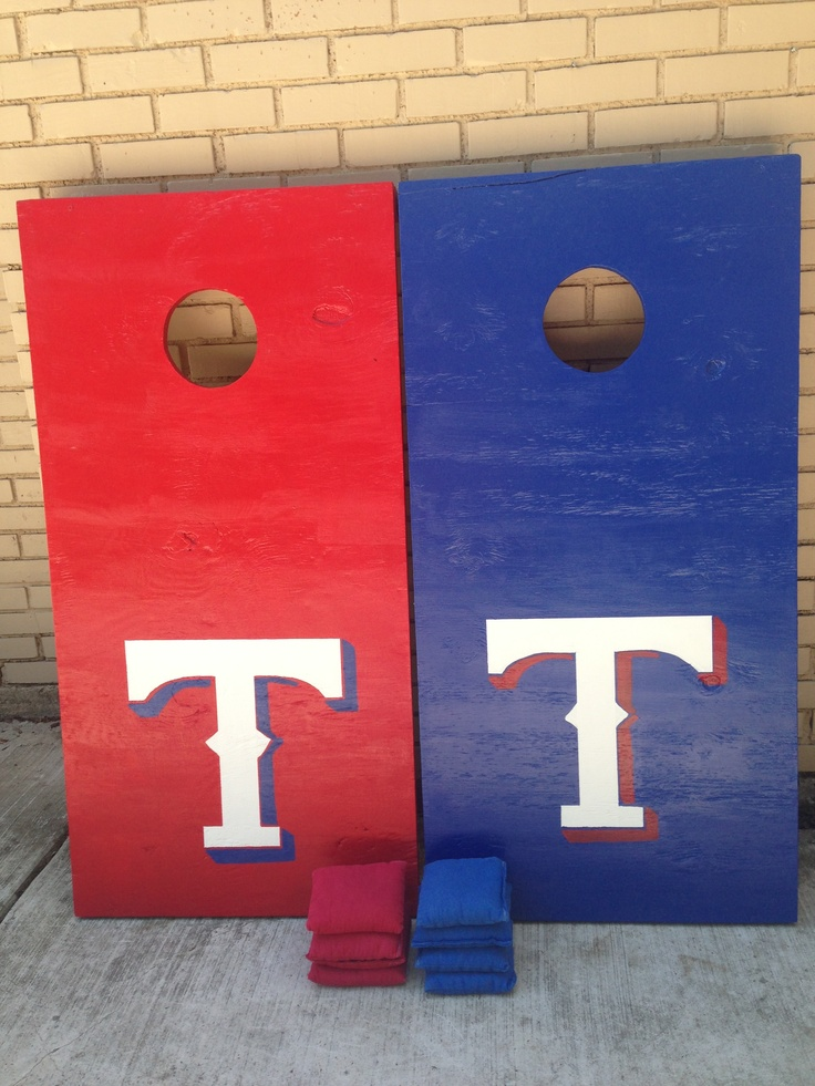 Just Finished Making Our Texas Rangers Cornhole Boards In