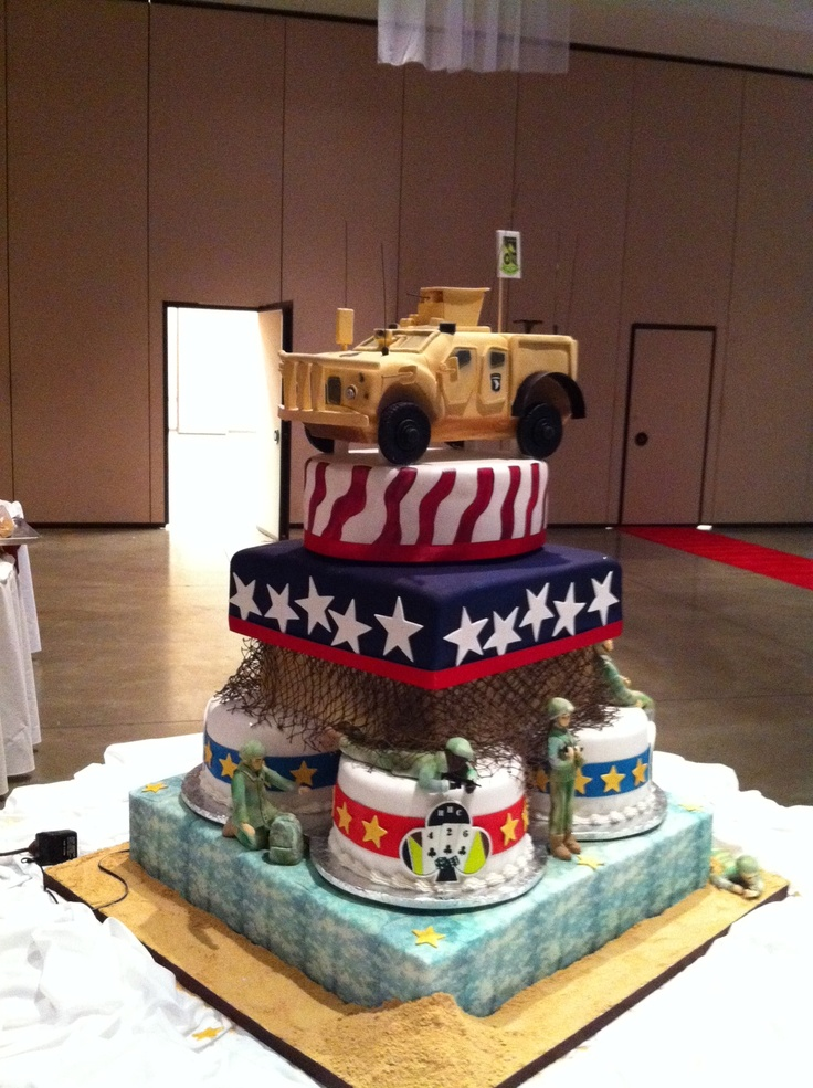 Military ball cake for 504 at fort campbell ky welcome for Welcome home troops decorations