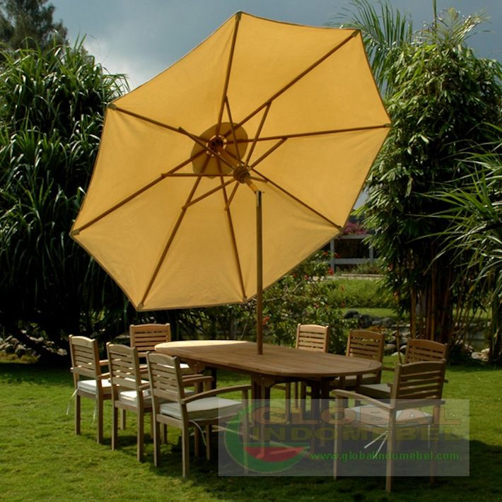 Teak garden patio furniture set of one extending oval table with dimension 100 x 180 – 240 x 75 cm, 8 (eight) stacking chair and one umbrella. The  garden dining set also can put seat chusion for enjoy seating. The entire table is made of teak wood, an all-weather wood that is dense and durable.The original color can be maintained by applying a seasonal coat of teak oil which will last for many years.