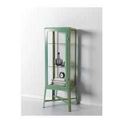 FABRIKÖR Glass-door cabinet - light green - IKEA I want this for my bar ware