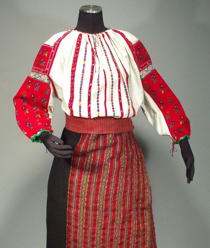 CSANGO FOLK COSTUME rare Hungarian ethnic dress embroidered blouse skirt ROMANIA