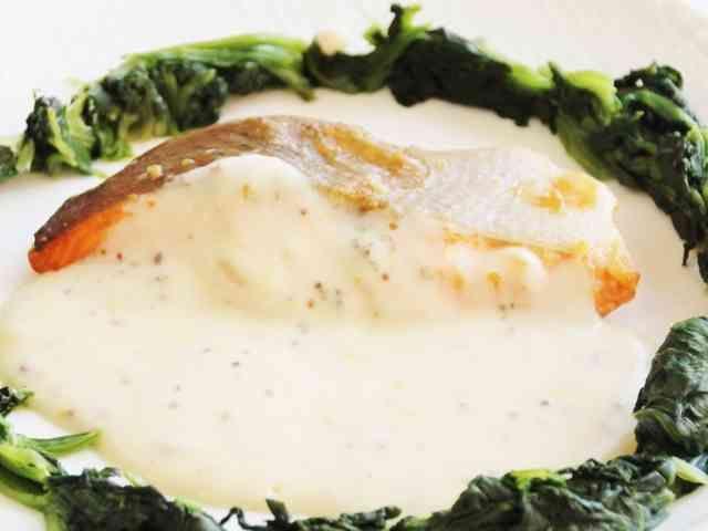 鮭の粒マスタードソース《透析食レストラン by 腎臓に優しいメニュー