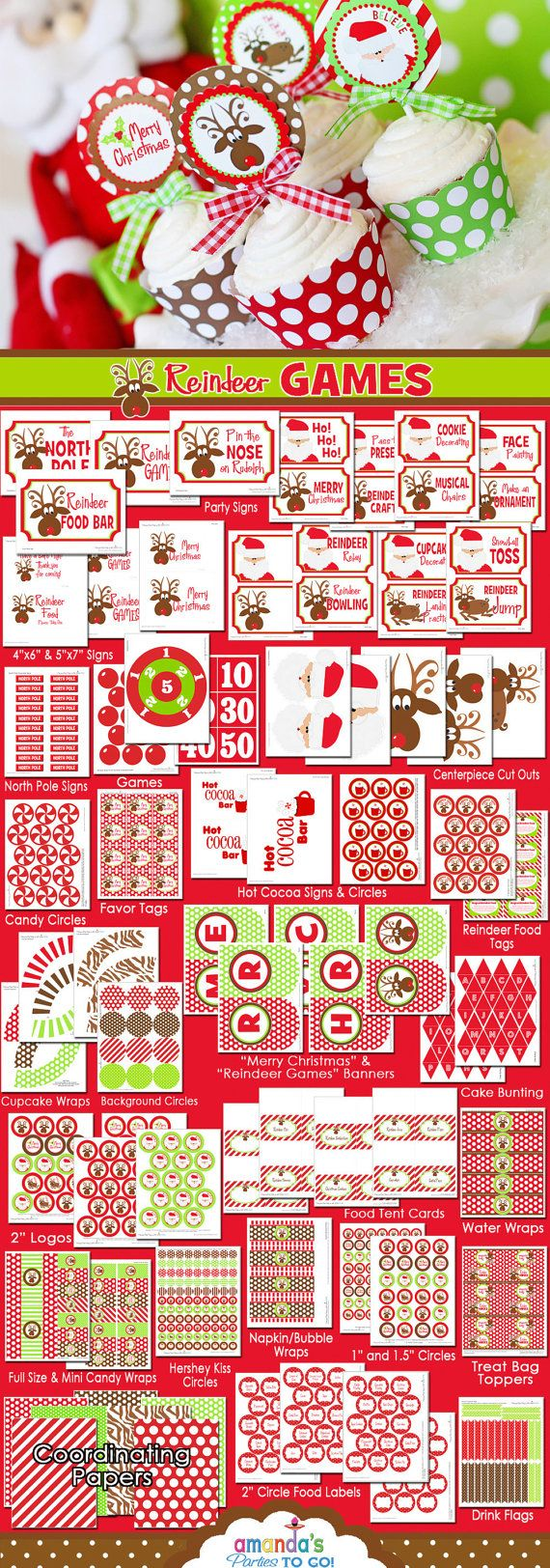 Christmas Reindeer Games  Printables  - Christmas Party - Santa - Huge Party Set by Amanda's Parties To Go - 50% OFF