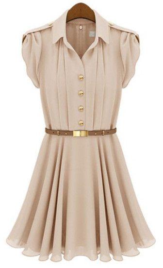 Apricot Lapel Buttons Bandeau Pleated Chiffon Dress – Modest Appeal
