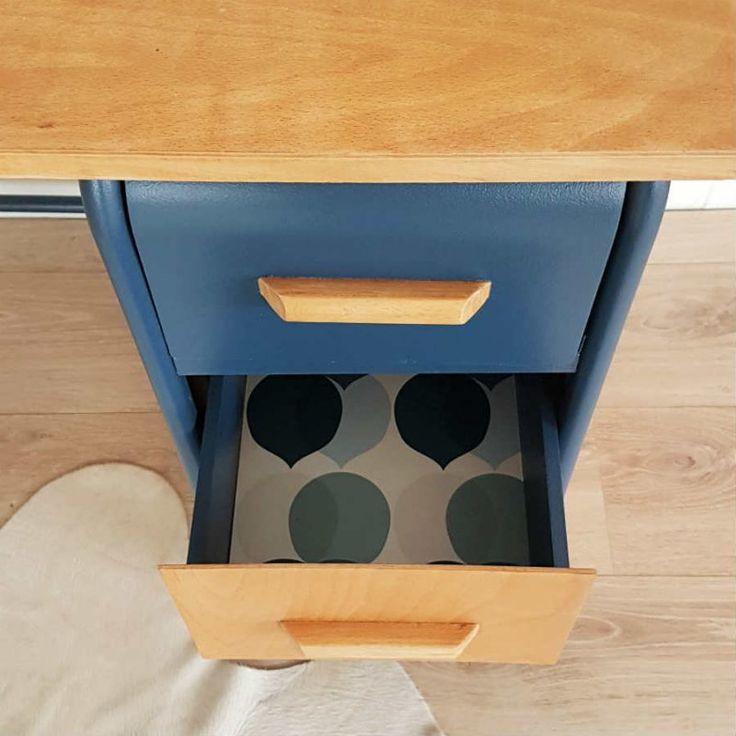 ensemble bureau et chaise enfant rétro bois métal bleu