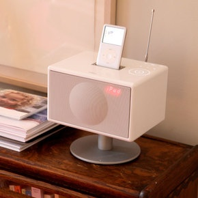 Geneva Sound System Model S (small!) 299 GenevaLab.  Beautiful, tiny, adds radio function to typical iPod setup.  White or Red.