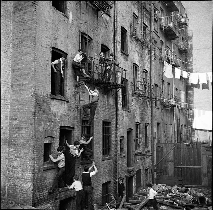 Fire Escape New York City 1940s : Boys climbing fire escape new york historical