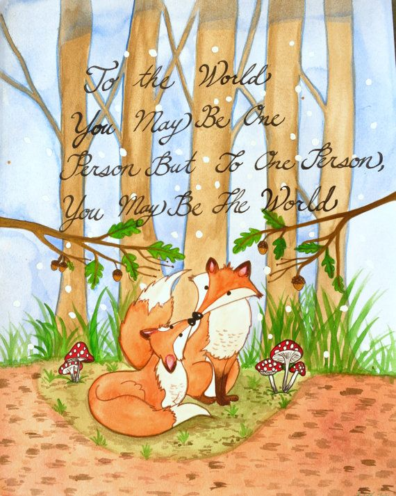 I love this.  Wonderful sentiment. . . . Foxes in the Woods Valentines Watercolor Poster Print by KBlossoms