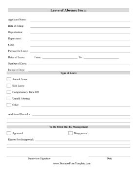 Employees can specify annual leave, vacation, sick days and paid leave in this free, printable leave of absence form. Free to download and print