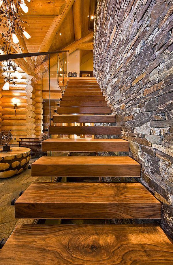Combinação de madeira, pedra e vidro