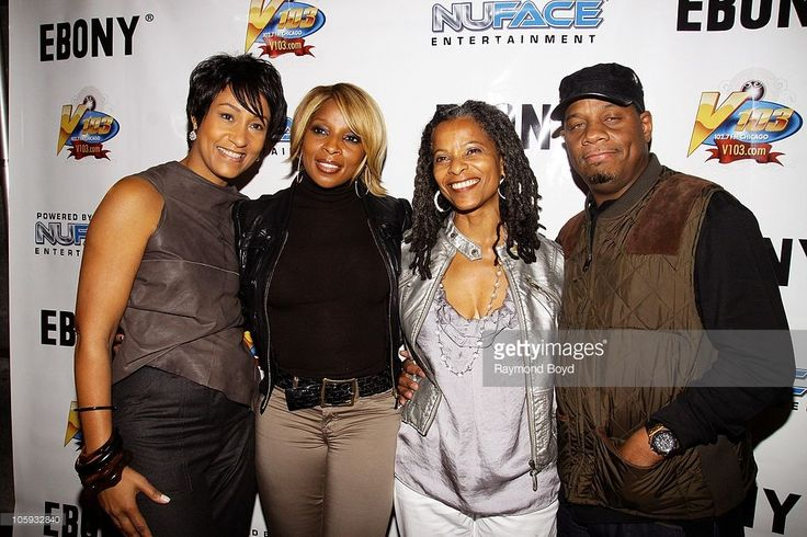 Desiree Rogers, CEO of Johnson Publishing, singer Mary J. Blige, Terry Glover, Managing Editor of Ebony Magazine and Mary's husband and manager Kendu Isaacs poses for photos at Le Passage during the Ebony Magazine 65th Anniversary Party in Chicago, Illinois on OCT
