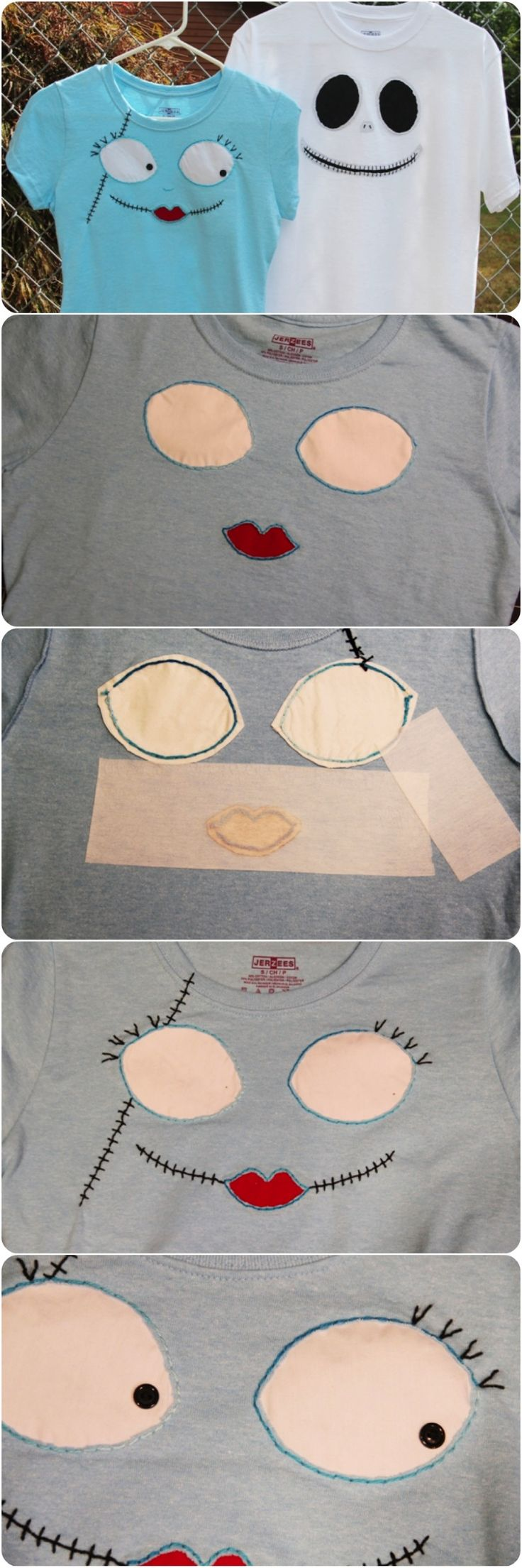 A Disney craft project in time for Mickey's #NotSoScary Halloween Party! See step-by-step instructions on how to make these Jack Skellington & Sally t-shirts via @Undercover Tourist #DIY #Disney http://blog.undercovertourist.com/2013/09/disney-craft-jack-skellington-sally-t-shirts-in-time-for-mickeys-not-so-scary-halloween-party/