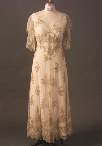 Martin McCrea design.  Custom-made wedding gown with elegant vintage lace