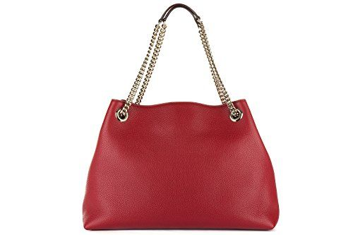 e1bfb0e16595 Gucci Womens Soho Leather Chain Straps Shoulder Handbag Red Large ...