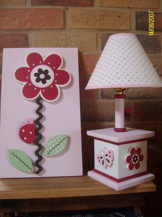 Flower and butterfly lamp based on berry garden for girl room decor
