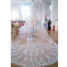 New Style De Mariée Cathédrale Longueur Appliqued Dentelle Robe De Mariée Voile Accessoires De Mariée(China (Mainland))