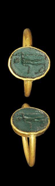 Roman Gold Ring with Jasper Intaglio of Jupiter Description, 1st-2nd century AD
