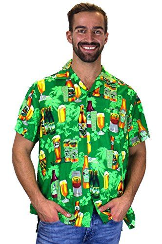 6cdd1d44 Funky Hawaiian Shirt Men Shortsleeve Frontpocket Hawaiian-Print Party  Flowers Beerbottle St. Patrick's Day