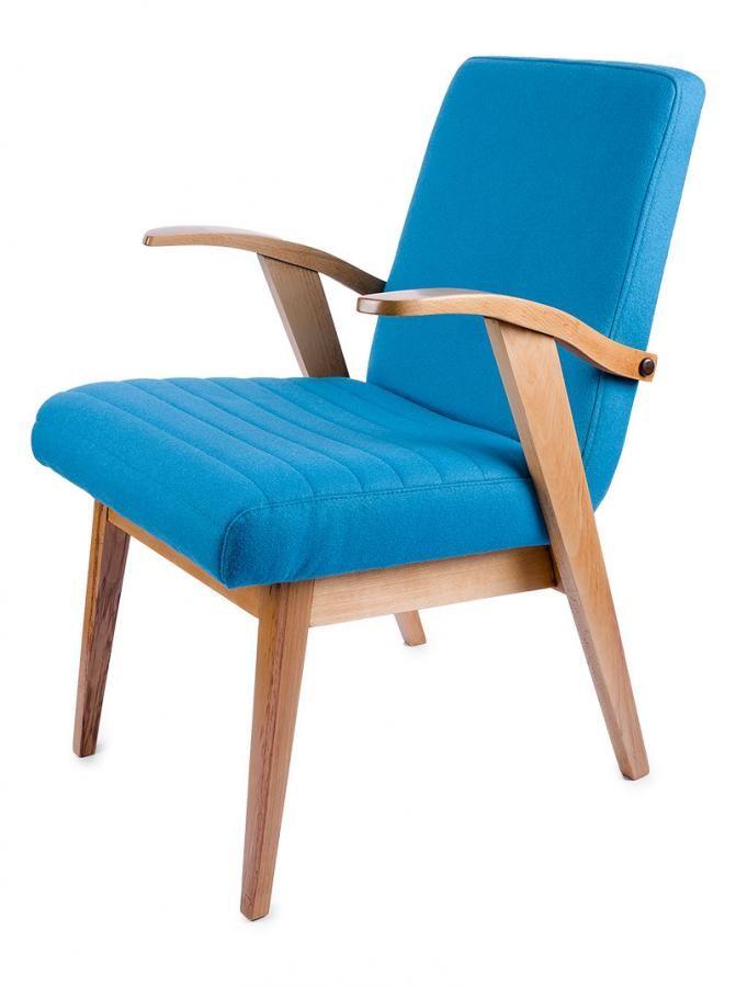 Fotel typ 300-123 VAR proj. M. Puchała, Bystrzyckie Fabryki Mebli, l. 60. XX w. drewno, obicie wełniane; wys. 80, szer. 55,5 cm Estymacja: 700 - 800 zł
