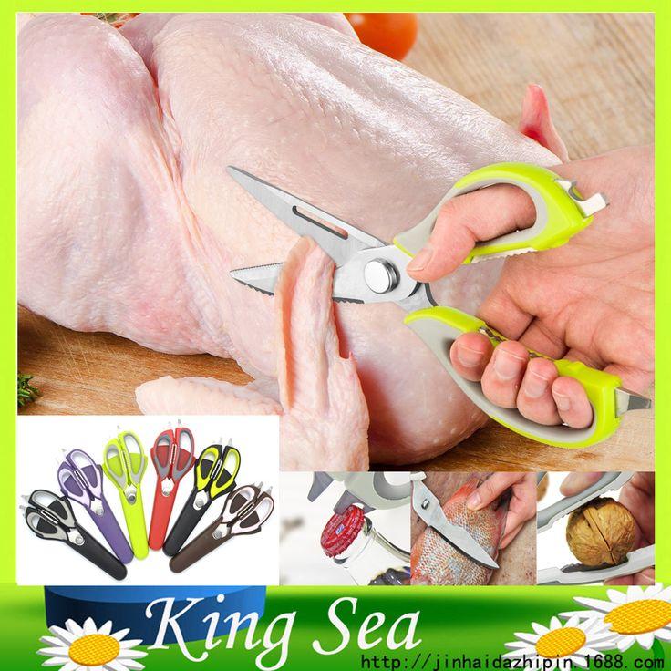 Tijeras de cocina multifunción de acero inoxidable del hogar tijeras de corte de cuchillo para pescado pollo envío libre con tapa magnética