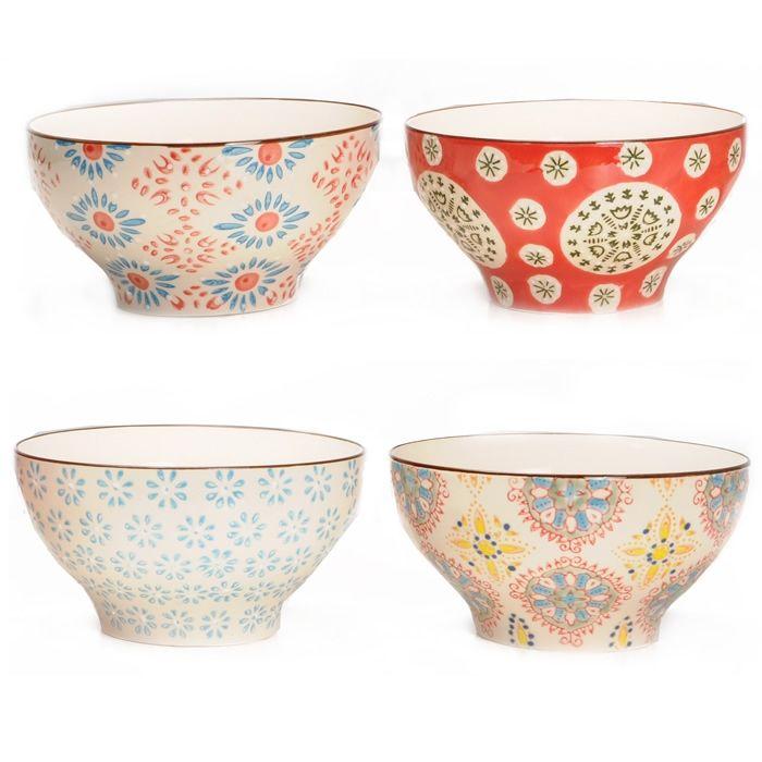 Chehoma Multi Colored Bohemian Bowls Set Of 4 General