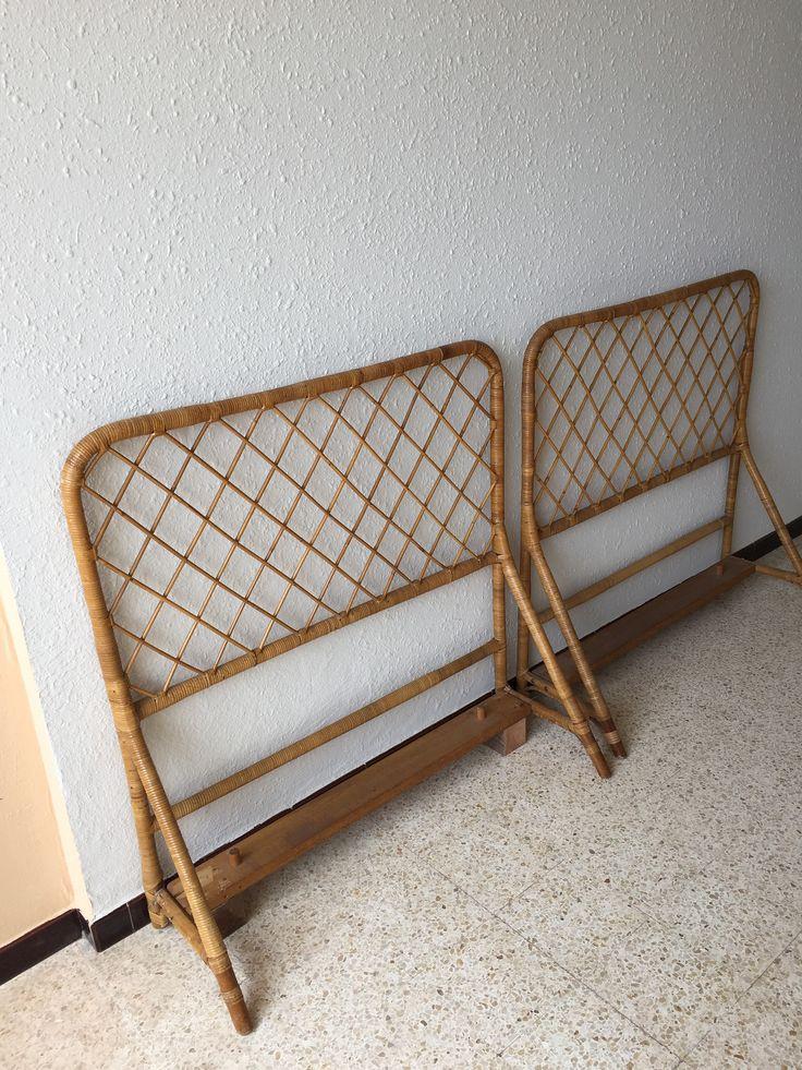 Paire de têtes de lit en rotin vintage de la boutique