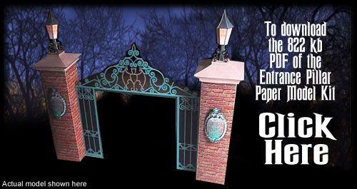 Entrance Pillar  Haunted Mansion  Paper Model Kit by Ray Klein.  Free Template