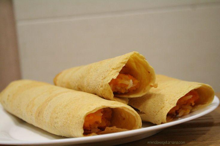 Crepes de harina de garbanzo con calabaza y arroz en HazteVegetariano.com